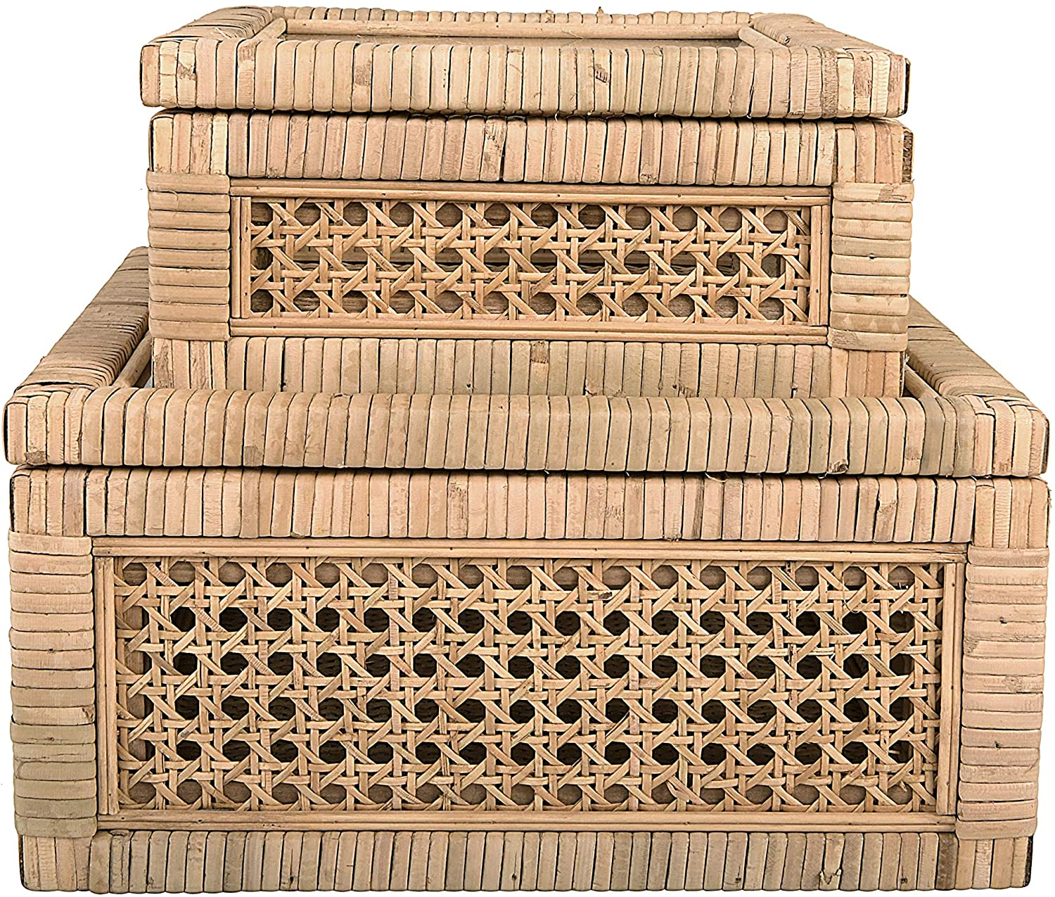 fall tabletop pieces from Creative Co-Op Cane and Rattan Glass Lid, Set of 2 Display Boxes