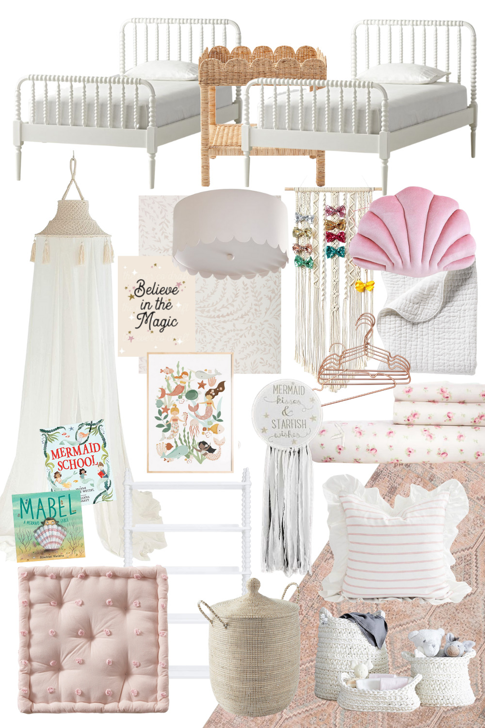 collage of My Plans for the Girls Whimsical Mermaid Shared Bedroom