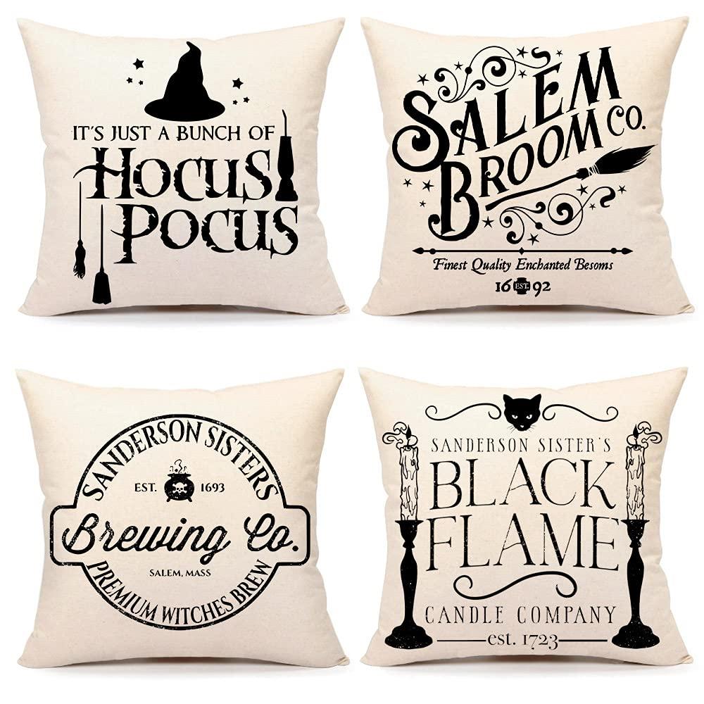 4TH Emotion Halloween Decor Pillow Covers 20x20 Set of 4 Halloween Decorative Hocus Pocus Farmhouse Saying Outdoor Fall Pillows