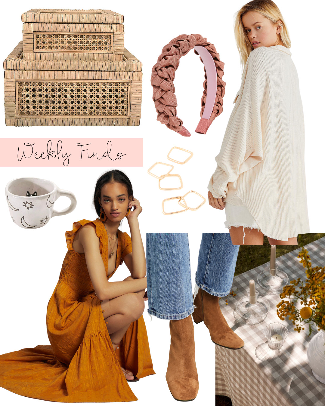 collage of Weekly Finds + A Few Lovely Fall Tabletop Pieces