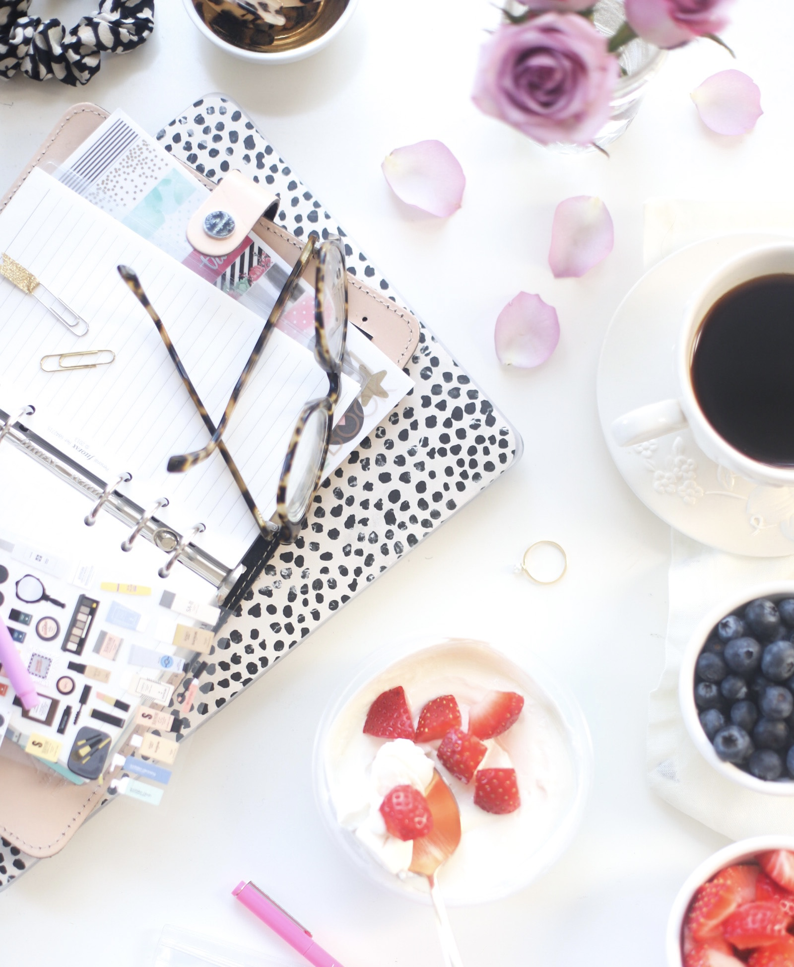 fruits, notebook, coffee on the table for The Best Labor Day Weekend Sales