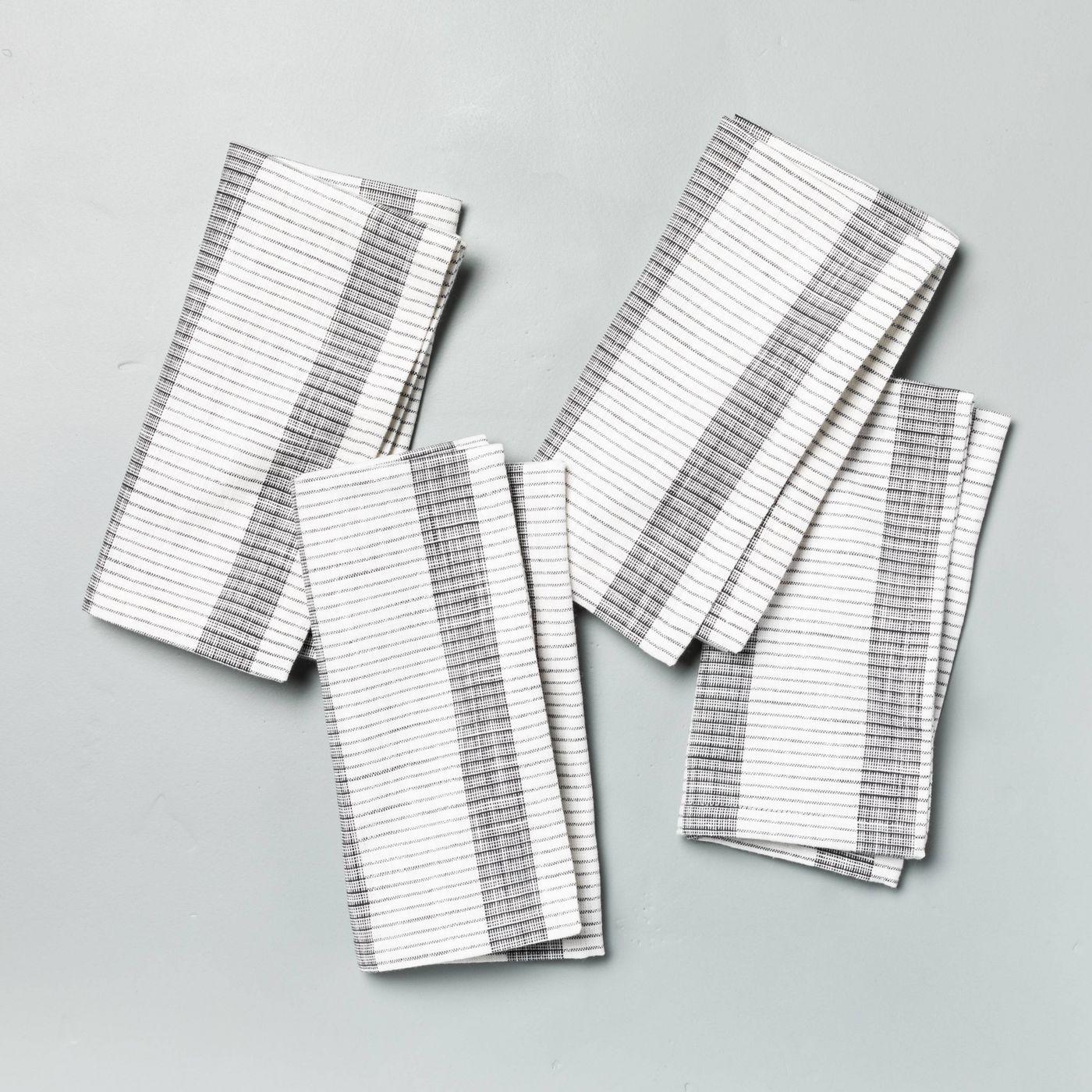 Hearth & Hand with Magnolia 4pk Bold Stripes Napkin Set Dark Gray
