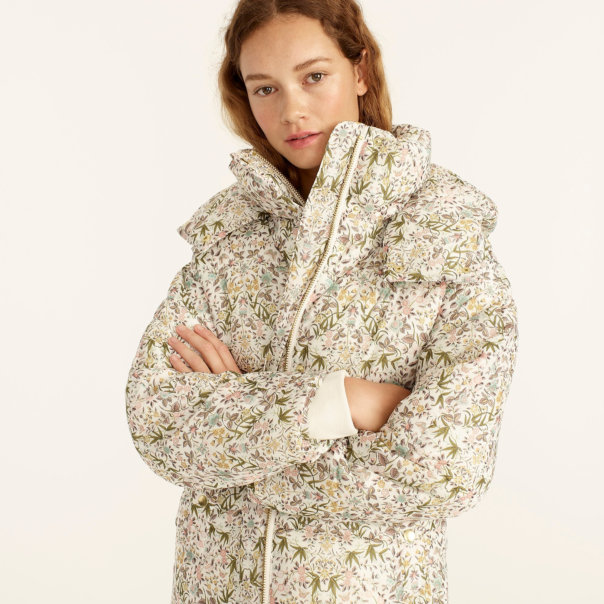 J.Crew Flurry Puffer Jacket with PrimaLoft in Liberty Tapestry Floral one of the Favorite Fall Sweaters
