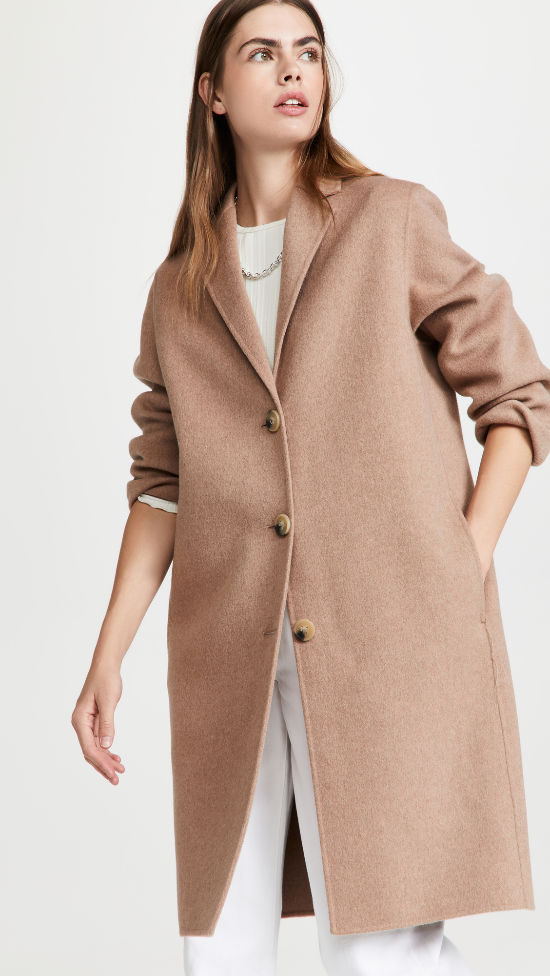 woman wearing Acne Studios Camel Jacket  from The Shopbop Style Event Sale