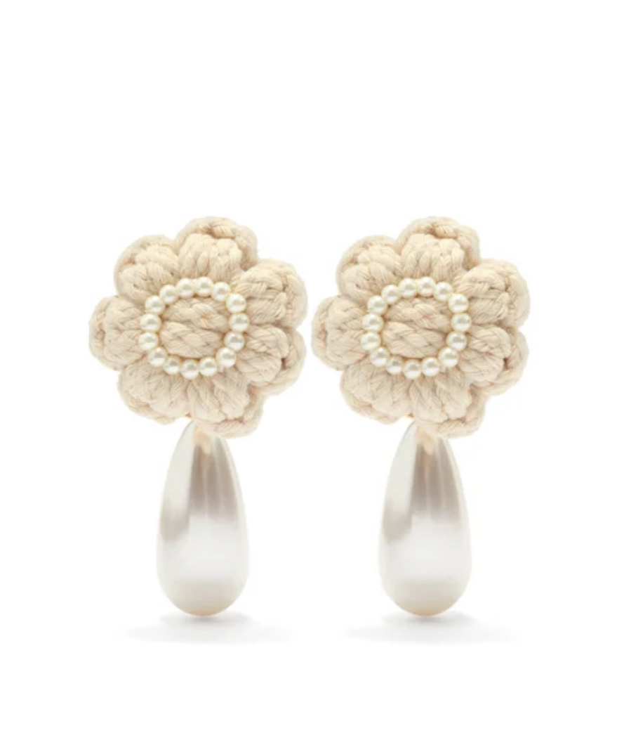 SHRIMPS Josef Knitted Faux-Pearl Floral Clip Earrings