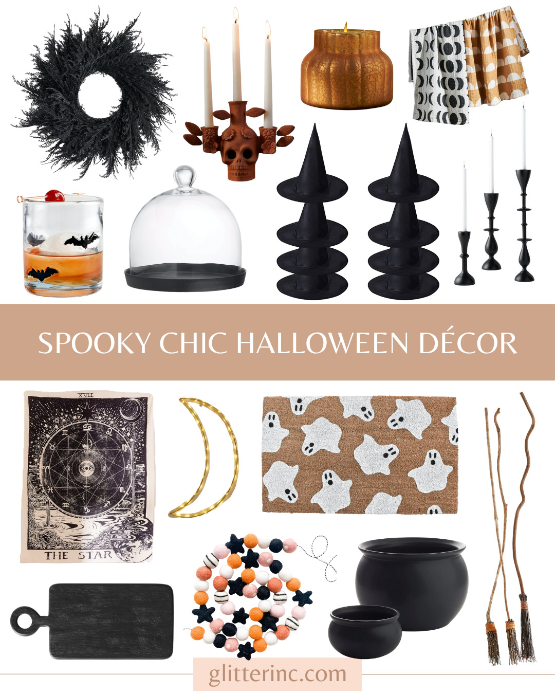 collage of Spooky Chic Halloween Décor