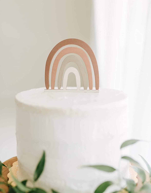 Wooden Boho Rainbow Cake Topper