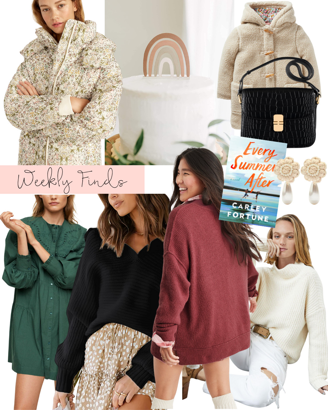 collage of Weekly Finds + A Few Favorite Fall Sweaters