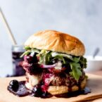 40 Delicious Birthday Dinner Ideas At Home // Red, White, and Blueberry Bacon Burger with Basil Aioli